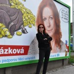 Volební billboard v ulici Švábky